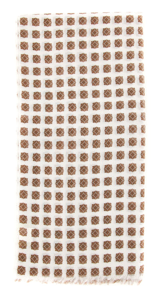 "New $300 Luigi Borrelli Brown Foulard Long Scarf - 76"" x 26"" - (SCRVX51)"