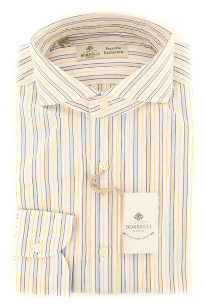 New $450 Borrelli White Striped Shirt - Extra Slim - (2018022219) - Parent