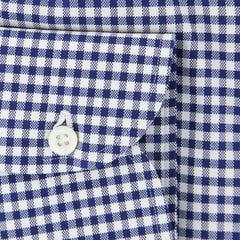 $600 Luigi Borrelli Navy Blue Check Cotton Shirt - Extra Slim - (2O) - Parent