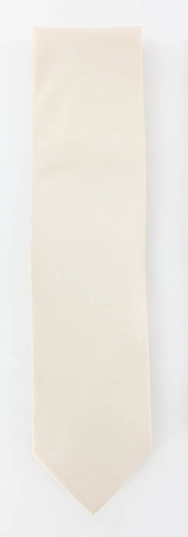 "New $195 Luigi Borrelli Cream Solid Tie - 3.25"" x 58"" - (TIE4F)"