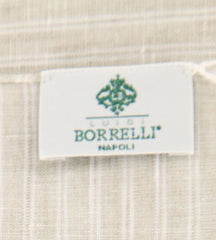 "New $250 Luigi Borrelli Beige Striped Scarf - 70"" x 27"" - (LBSS12216)"