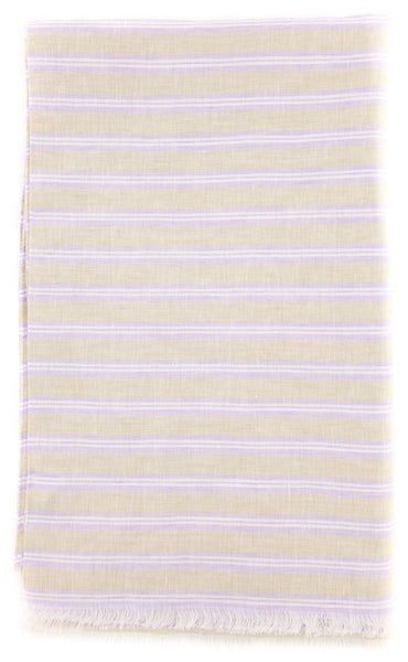 "New $250 Luigi Borrelli Beige Striped Long Scarf - 27"" x 62"" - (LBSS1289)"