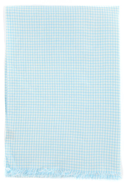 "New $250 Luigi Borrelli Light Blue Check Long Scarf - 27"" x 58"" - (LBSS1255)"