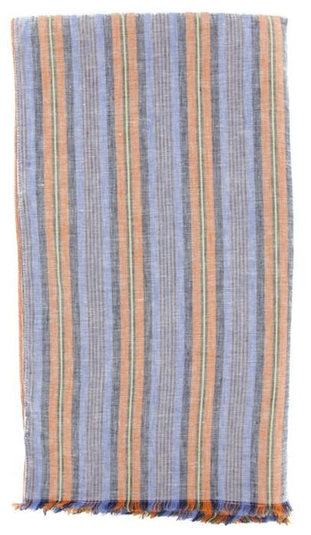"New $250 Luigi Borrelli Blue Striped Long Scarf - 54"" x 27"" - (LBSS12146)"