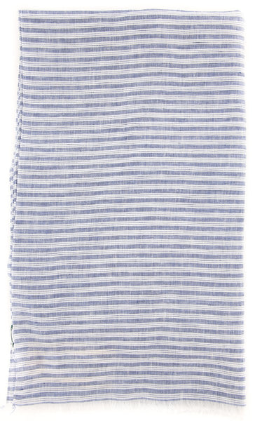 "New $250 Luigi Borrelli Blue Striped Scarf - 74"" x 27"" - (LBSS12148)"