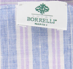 "New $250 Luigi Borrelli Blue Striped Long Scarf - 74"" x 27"" - (LBSS12150)"