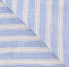 "New $250 Luigi Borrelli Blue Striped Scarf - 60"" x 27"" - (LBSS12174)"