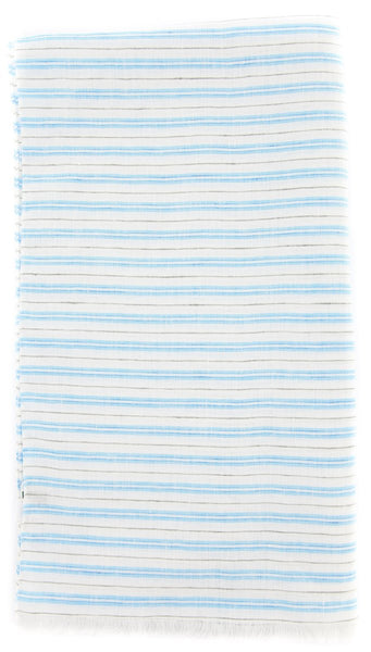 "New $250 Luigi Borrelli Light Blue Striped Long Scarf - 64"" x 27"" - (LBSS1275)"