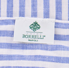 "New $250 Luigi Borrelli Blue Striped Long Scarf - 74"" x 27"" - (LBSS1286)"