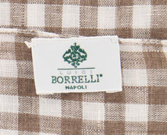 "New $250 Luigi Borrelli Brown Check Scarf - 78"" x 27"" - (LBSS12212)"