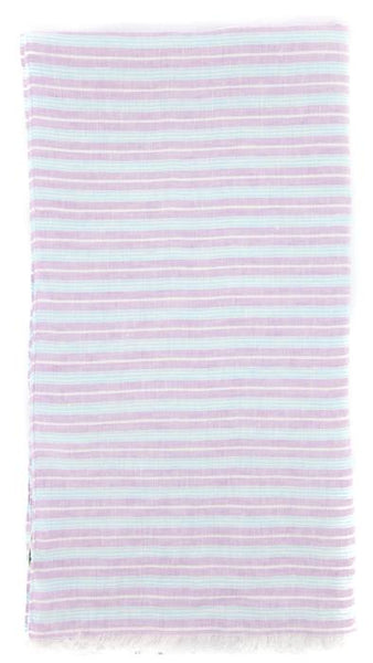 "$250 Luigi Borrelli Lavender Purple Striped Long Scarf - 54"" x 27"" - (LBSS12214)"