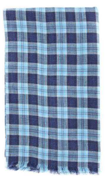 "New $250 Luigi Borrelli Light Blue Plaid Long Scarf - 62"" x 27"" - (LBSS1241)"