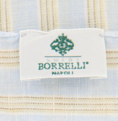 "New $250 Luigi Borrelli Light Blue Striped Long Scarf - 56"" x 27"" - (LBSS12126)"
