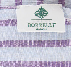 "New $250 Luigi Borrelli Light Blue Striped Long Scarf - 72"" x 27"" - (LBSS12135)"