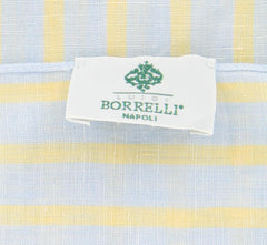 "New $250 Luigi Borrelli Light Blue Striped Long Scarf - 27"" x 74"" - (LBSS1298)"