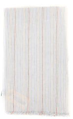 "New $250 Luigi Borrelli Light Gray Striped Long Scarf - 62"" x 27"" - (LBSS12155)"