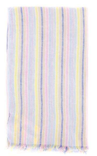 "$250 Luigi Borrelli Multi-Colored Striped Long Scarf - 52"" x 27"" - (LBSS12156)"