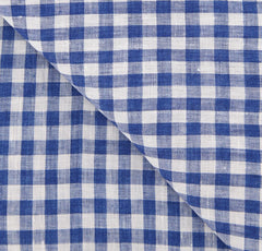 "New $250 Luigi Borrelli Blue Check Scarf - 26.75"" x 76"" - (LBSS12213)"