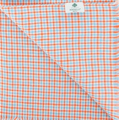 "New $250 Luigi Borrelli Orange Check Long Scarf - 27"" x 58"" - (LBSS1261)"