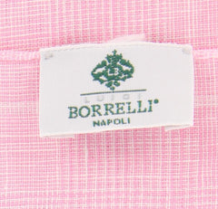 "New $250 Luigi Borrelli Pink Plaid Long Scarf - 27"" x 68"" - (LBSS1258)"