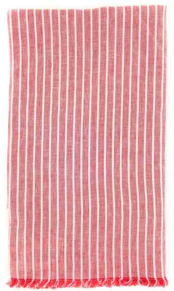 "New $250 Luigi Borrelli Red Striped Long Scarf - 58"" x 27"" - (LBSS12166)"