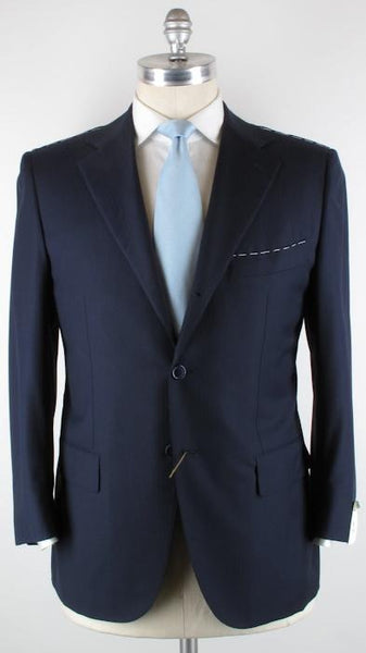 New $4200 Luigi Borrelli Navy Blue Suit 46/56