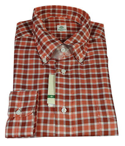 Luigi Borrelli Terra Cotta & Dusty Cedar & White Shirt – Size: Medium US / 44 EU