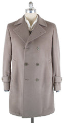 New $3600 Luigi Borrelli Light Brown Solid Coat -  6 x 2 - 42/52