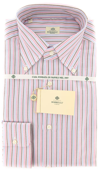 New $450 Luigi Borrelli Pink Striped Shirt - Slim - 18/45 - (DR1809OVIDIO)