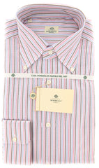 $450 Luigi Borrelli Pink Striped Cotton Shirt - Slim - 15.75/40 - (TF)