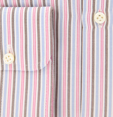 $450 Luigi Borrelli Pink Striped Cotton Shirt - Slim - (TF) - Parent