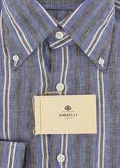New $450 Borrelli Blue Striped Shirt - Extra Slim - 15.75/40 - (EV130LIVIO)