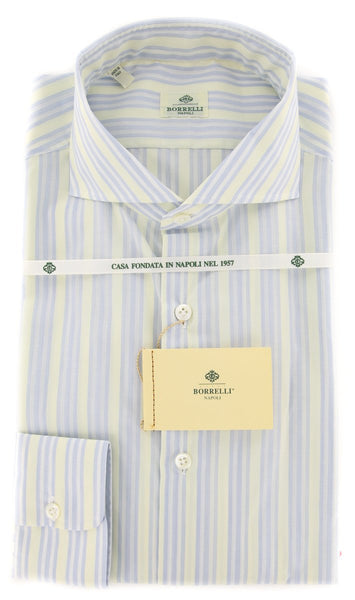 New $450 Borrelli Light Blue Striped Shirt - Extra Slim - 15.75/40 - EV1583HILL