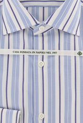 New $450 Borrelli Light Blue Striped Shirt - Extra Slim - 15.75/40 - (EV1595RIO)