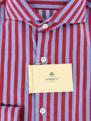 New $450 Luigi Borrelli Red Striped Shirt - Extra Slim - 18/45 - (EV1685HILL)