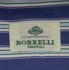 New $450 Luigi Borrelli Blue Striped Shirt - Extra Slim - 15/38 - (EV1707IVO)