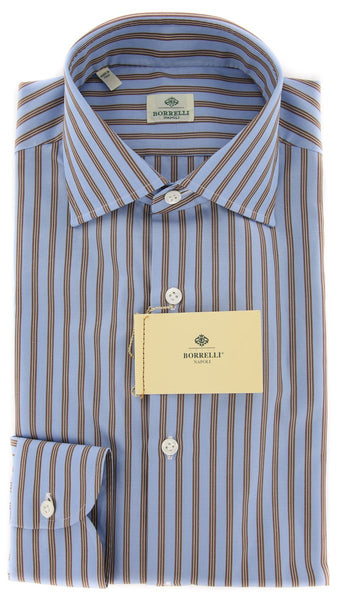 New $450 Borrelli Light Blue Striped Shirt - Extra Slim - 15.75/40 - (EV1726RIO)