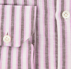 New $450 Luigi Borrelli Pink Striped Shirt - Extra Slim - 16/41 - (EV175RALPH)