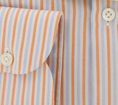 New $450 Luigi Borrelli Orange Striped Shirt - Extra Slim - 15/38 - (EV1763IVO)