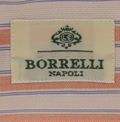 New $450 Borrelli Orange Striped Shirt - Extra Slim - 17.5/44 - (EV1765IVO)