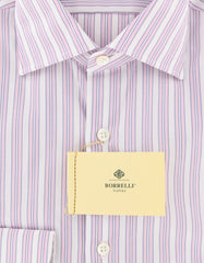 New $450 Luigi Borrelli Pink Striped Shirt - Extra Slim - 15.75/40 - (EV1814RIO)