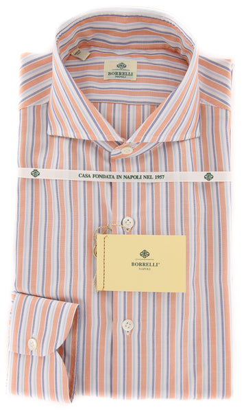 New $450 Luigi Borrelli Orange Striped Shirt - Extra Slim - 16/41 - (EV1867NA35)