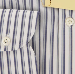 New $450 Borrelli Navy Blue Striped Shirt - Extra Slim - 15.5/39 - (EV187NA35)