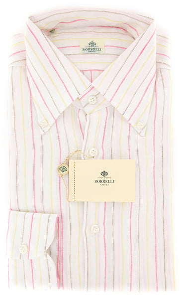 New $450 Luigi Borrelli Pink Striped Shirt - Extra Slim - 16/41 - (EV207LIVIO)