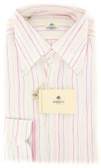 New $450 Luigi Borrelli Pink Striped Shirt - Extra Slim - 15/38 - (EV207LIVIO)