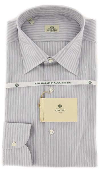 New $450 Borrelli Light Gray Striped Shirt - Extra Slim - 16/41 - (EV2134QUINTO)