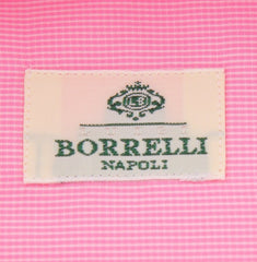New $450 Borrelli Pink Micro-Check Shirt - Extra Slim - 15.75/40 - (EV2270RIO)