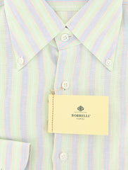 New $450 Luigi Borrelli Green Striped Shirt - Extra Slim - 16/41 - (EV252LIVIO)