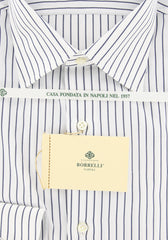 New $450 Luigi Borrelli Navy Blue Shirt - Extra Slim - 17/43 - (EV309872QUINTO)