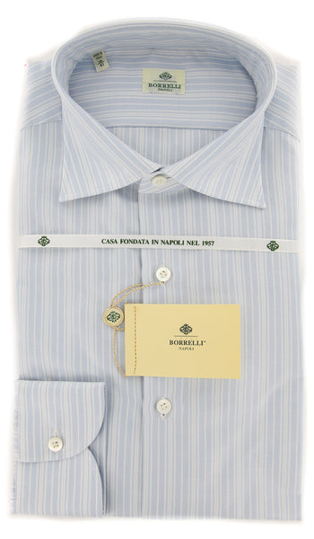 New $450 Borrelli Light Blue Striped Shirt - Extra Slim - 16.5/42 - EV4847GIANNI